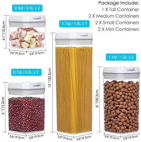 Airtight Food Storage Containers,Vtopmart 7 Pieces BPA Free Plastic Cereal Containers with Easy Lock Lids,for Kitchen Pantry Organization and Storage,Include 24 Free Chalkboard Labels and 1 Marker    Product Description