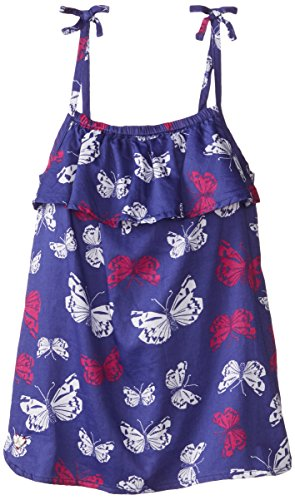 Hatley Little Girls' Ruffle Smocked Tank Top Butterflies,Purple,3