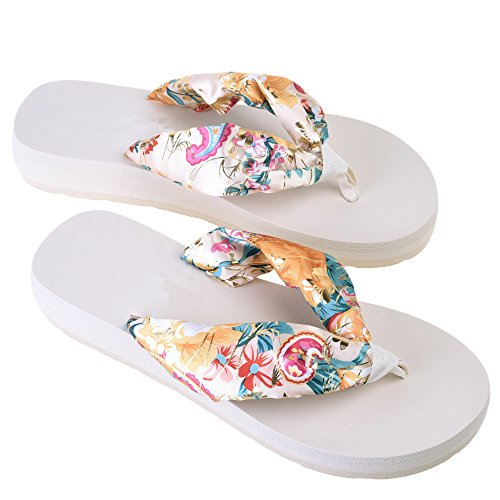 discount Women's Bohemian Floral Beach Slippers Platform Wedge Flip Flops Thick Sole Casual Slippers supplies