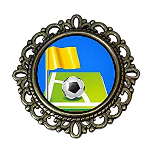 Chicforest Ancient Style UEFA Euro soccer ball with yellow flag Flower Pin Brooch
