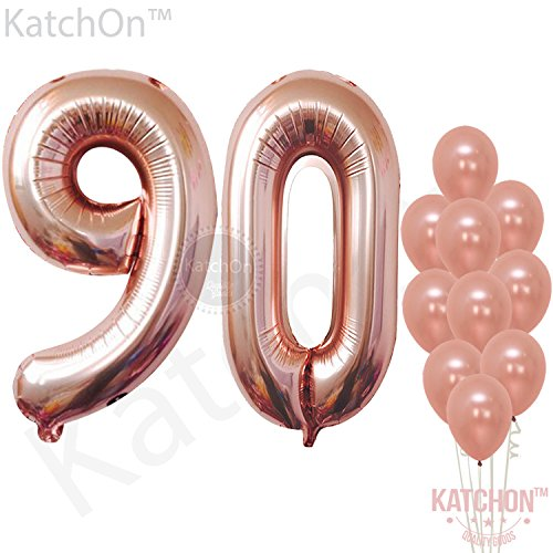 Peach Birthday Roses - Rose Gold 90 Number Balloons - Large, 9 and 0 Mylar Rose Gold Balloons, 40 Inch | Extra Pack of 10 Latex Baloons, 12 Inch | Great 90th Birthday Party Decorations| 90 Year Old Rose Gold Party Supplies