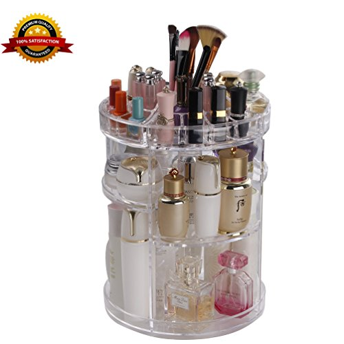 360 Degree Rotating Cosmetic Organizers Transparent Acrylic Large Round Detactable Spinning Makeup Storage Holders 6 Layers Big Capacity Cosmetic Shelf Box COOLBEAR (Round Acrylic Top)