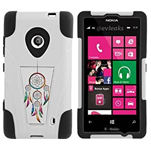 Fincibo (TM) Nokia Lumia 521 Hybrid Dual Layer Protector Cover Case Gel Silicone With Stand - Dream Catcher