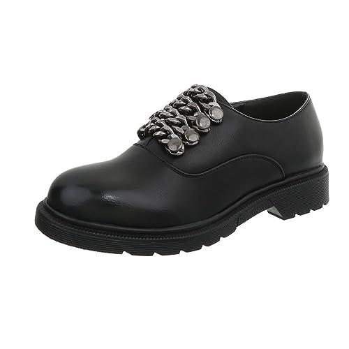 Ital-Design Zapatos para Mujer Mocasines Tacón Ancho Zapatos con Cordones: Amazon.es: Zapatos y complementos