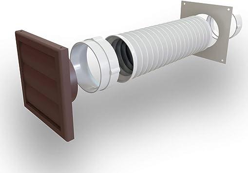 Extractor de campana extractora para secadora, kit de conductos de pared con ventilación de obturador externo, 100 mm, marrón: Amazon.es: Bricolaje y herramientas