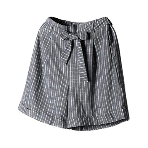 JOFOW Shorts Womens Plaid Checkered Print Tie Bowknot Casual Loose High Waist Mini Pants Strappy A Line Fashion Trousers Gift Gray
