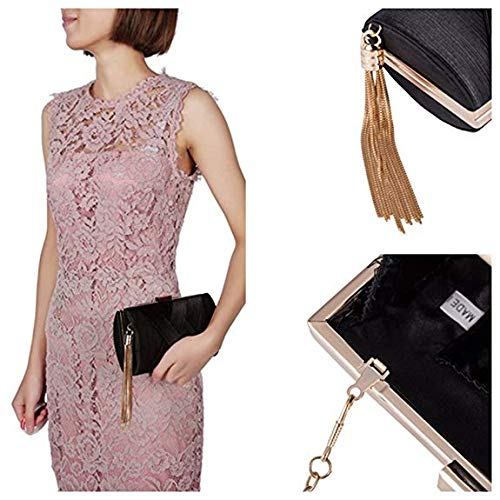 EROUGE Satin Women with Handbags Bags Tassel for Women Evening Pendant Clutch Black Designer HRqZH