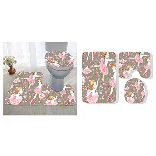Hizhogqul three-piece toilet seat pad custom ballerina seamless pattern with cute girl