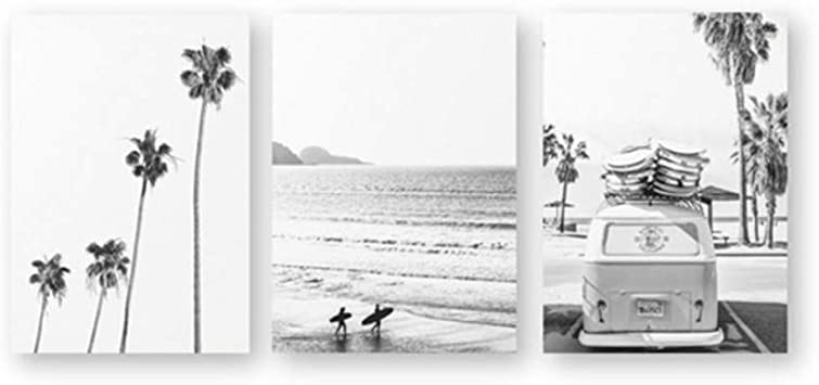 Amazon Com Wttfbh 3 Piece Set Of Canvas Wall Art Beach Tropical Landscape Posters Prints Palm Beach Surf Wall Art Canvas Painting Black And White Photography Pictures Home Decor 4060cm Furniture Decor