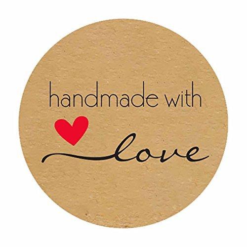 Rollo de 500 etiquetas redondas de 3,81 cm, hechas a mano con pegatinas de amor