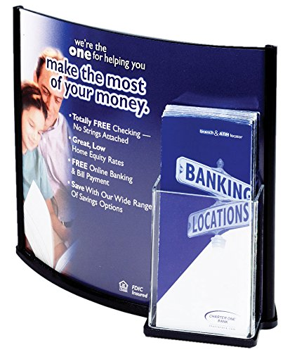 CX1311C George Patton Associates Black Plastic Border Displays2go Convex Sign with Pamphlet Dispenser Holds 8-1//2 x 11 Inches or 13 x 11 Inches Images