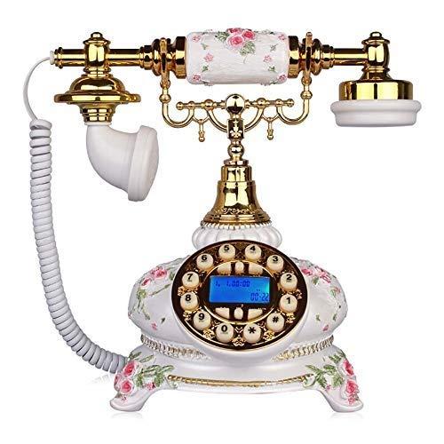 固定電話 アンティーク電話ロータリーダイヤルヨーロッパクラシックホームコード付き電話レトロ樹脂ヴィンテージ固定電話クラシックメタルベルハンズフリー発信者番号メタルオフィスクラフト 固定電話 B07QVPG1PX