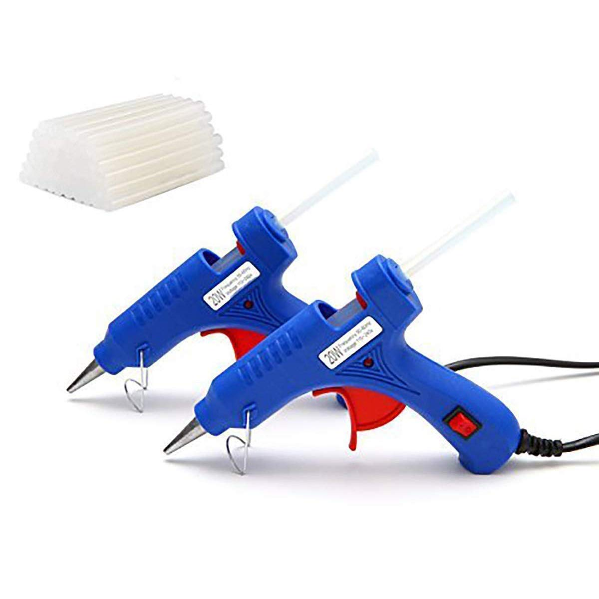 CloverTale 2 Pack Set Mini Hot Glue Gun with 50 Pieces Glue Sticks, 20 Watts Ceramic Heating Glue Gun for DIY Craft Projects Sealing and Quick Repair Kit by Fstop Labs (Image #1)
