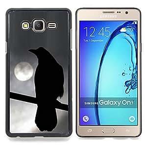 /Skull Market/ - Crow Night Moon Ominous Dark Deep For Samsung Galaxy On7 G6000 - Mano cubierta de la caja pintada de encargo de lujo -