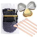 wax for nose hair - BlueZOO Stripless Hard Wax Beads with Sticks and Small Melting Pots Hair Removal Kit for Face Underarm Nose 100g Lavender