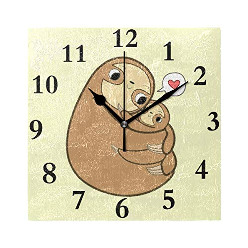 HangWang Wall Clock Sloth Love Silent Non Ticking Decorative Square Digital Clocks Indoor Outdoor Kitchen Bedroom Living Room