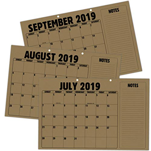 Rustic Kraft Paper Desk Wall Blotter Calendar • Large 11x17 Planning Pad with Tear Off Sheets • July 2019 - December 2020 • Holes for Wall Hanging • (2019-2020 18 Month Calendar)