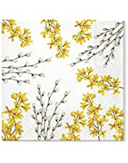 """TETEáTETE Easter Party Napkins - 20 Soft Triple-Ply Paper Napkins Catkins and Forsythia - 13"""" x 13"""""""