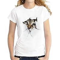 Women Summer Cute Cat Print Short Sleeve O-Neck T-Shirt Blouse Tops