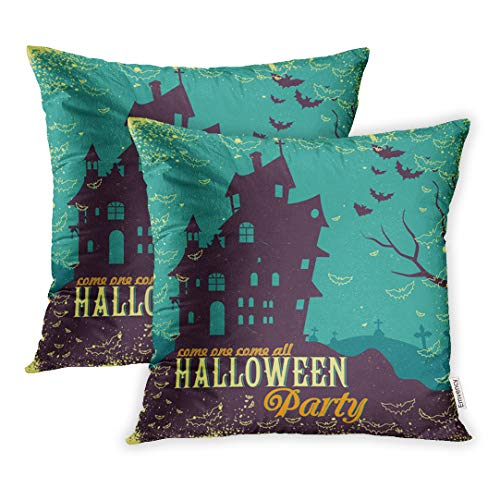 Emvency 20x20 Inch Decorative Set of 2 Throw Pillow Cover Mansion Haunted House in Halloween Fall Devil Home Cushion Sofa Two Sides Pillow Case