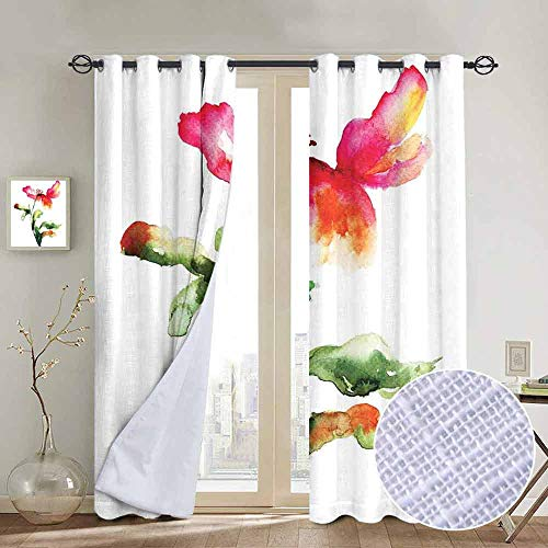 NUOMANAN backout Curtains for Bedroom Watercolor Flower,Shaded Single Poppy Flowering Plant Muse in The Nature Earth Divine Grace,Red Green White,Pocket Thermal Insulated Tie Up Curtain 54