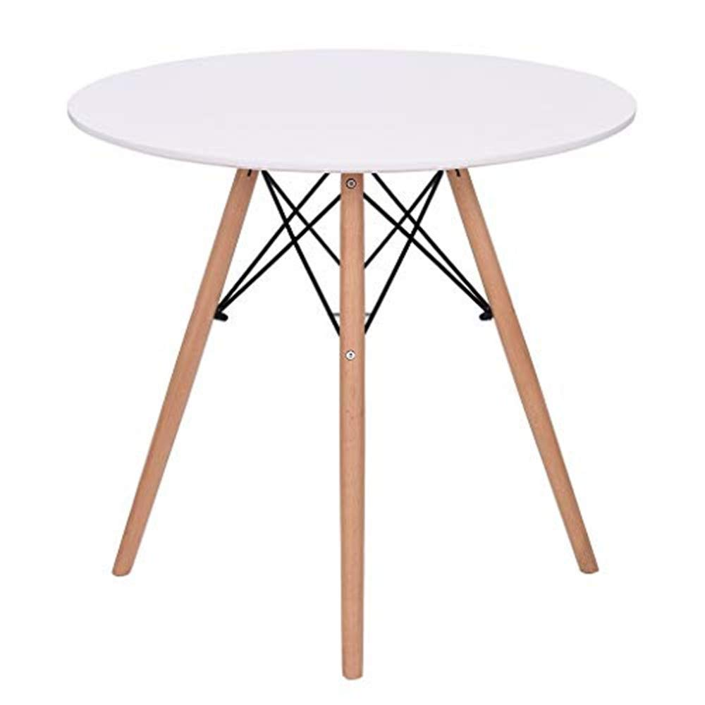 Transser US Fast Shipment Kitchen Dining Table White Round Coffee Table Modern Leisure Wooden Tea Table Office Conference Pedestal Desk with Wood Legs for Kitchen Living Room Office by Transser-
