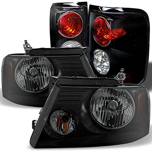 For 2004-2008 Ford F150 F-150 Pickup truck Black Smoked Headlights + Black Tail Brake Lights Lamps