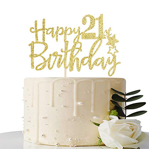 Gold Glitter Happy 21st Birthday Cake Topper,Hello 21, Cheers to 21 Years, 21 & Fabulous Party Decoration