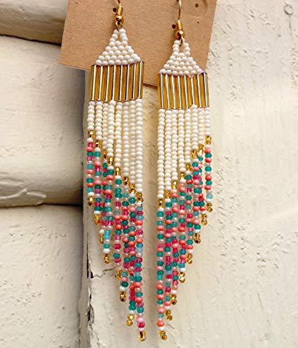 Poppy Vintage Beaded Shoulder Duster Earrings