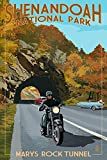 Shenandoah National Park, Virginia - Marys Rock Tunnel Motorcycle (9x12 Art Print, Wall Decor Travel Poster)