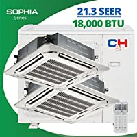 COOPER AND HUNTER 9K + 9K Dual Zone Multi Zone 18,000 BTU 21.3 SEER Ceiling Cassete Ductless Air Conditioner 1.5 Ton Sophia Series