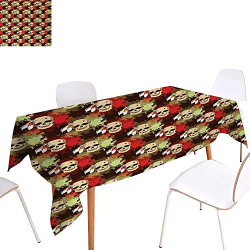 Red Magnet Rectangle (Warm Family Skull Printed Tablecloth Skull with Feathers Ethnic Tribe Backdrop with Colorful Blood Splash Rectangle Tablecloth 54