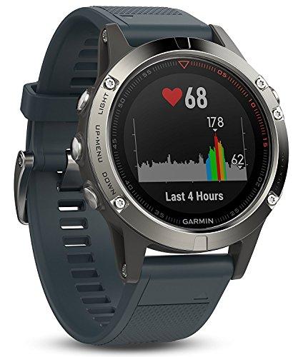 Garmin Fēnix 5S - Montre GPS Multisports Outdoor - Argent avec Bracelet Noir Argent avec Bracelet Bleu