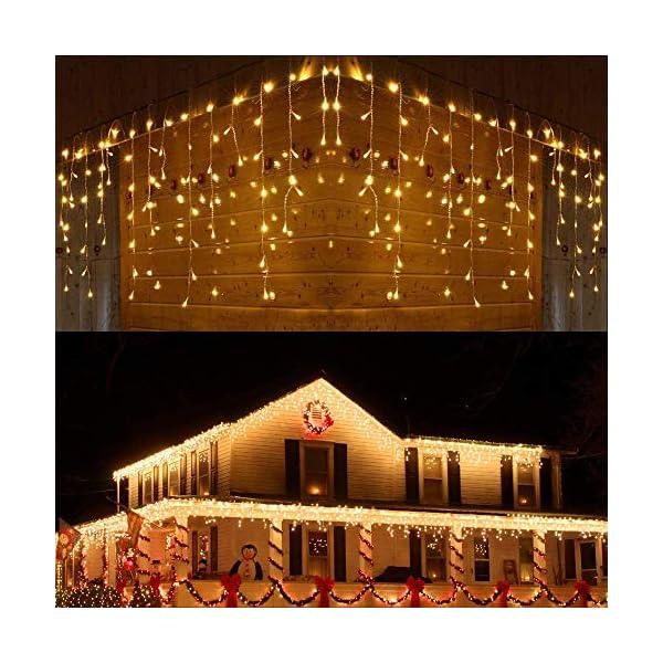 Luci Natale Esterno Cascata, BrizLabs 8.8M 360 LED Tenda Luminosa Catena Luminosa Interno Luci Stringa Decorazione Natalizie 8 Modalità con Telecomando per Casa Feste Giardino Finestra, Bianco Caldo 1 spesavip