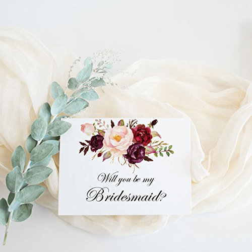 Amazon Will You Be My Bridesmaid Card Burgundy Floral Wedding