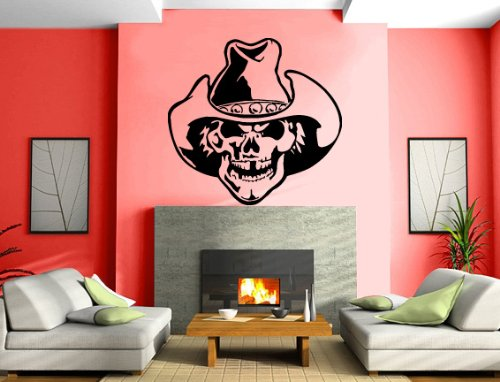 Skull in Cowboy Hat Cool and Scary Decor Wall Mural Vinyl Decal Sticker (350z Lambo Doors)