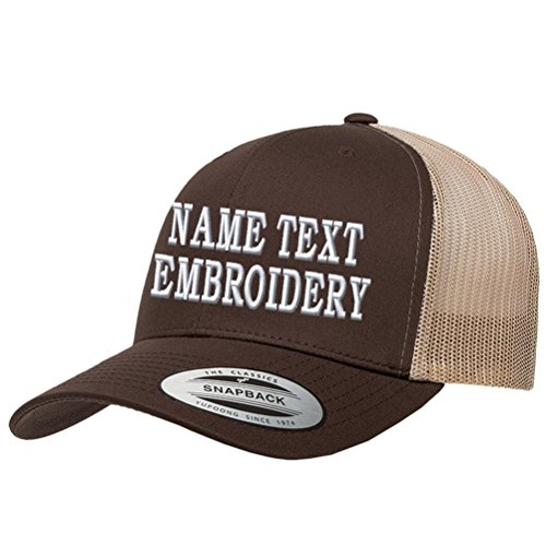 - Custom Embroidered Snapback Hat Personalized Yupoong Embroidery Trucker Cap - Brown Khaki