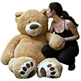 Big Plush Giant Teddy Bear 5 Feet Tall Tan Color Soft Smiling Big Teddybear - Premium Quality - Ships in BIG Box That Weighs 16 Pounds - NOT Vacuum Packed in Tiny Box - Legs Are Proportionate to Body