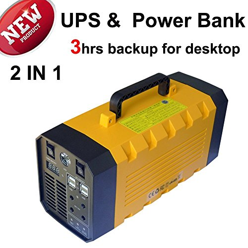 (Pure Sine Wave ) Igoeshopping Standby Backup Battery Power Source (Lithium)- Uninterruptible Power Supply(UPS)- Car Jump Starter 500A AMP Peak- 26A Power Bank AC DC USB Charger for Emergency Outdoor