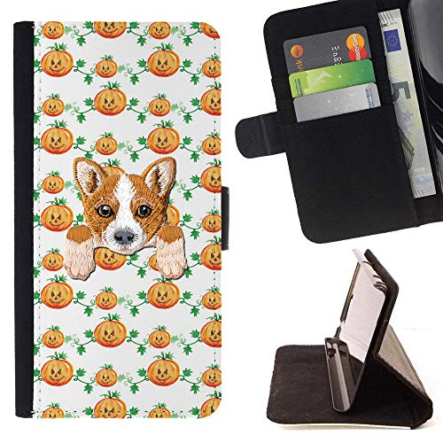 [ Welsh Corgi ] Embroidered Cute Dog Puppy Leather Wallet Case for LG K4 (2017) / LG K8 (2017) / LG Aristo/LG Phoenix 3 / LG Risio 2 / LG Fortune [ Happy Halloween Pumpkin Pattern ] ()