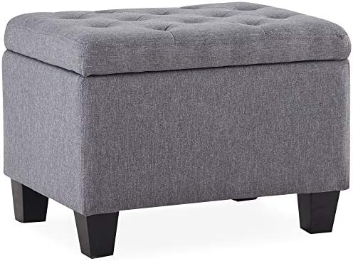 BELLEZE Modern Tufted Storage Ottoman Lift Top Rectangle Footstool Linen