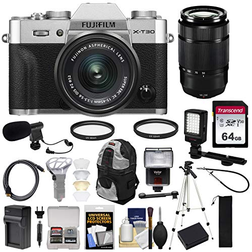 Fujifilm X-T30 Wi-Fi Digital Camera & 15-45mm XC OIS PZ (Silver) + 50-230mm Lens + 64GB Card + Battery/Charger + Tripod + Flash + Backpack + Mic + LED Light Kit