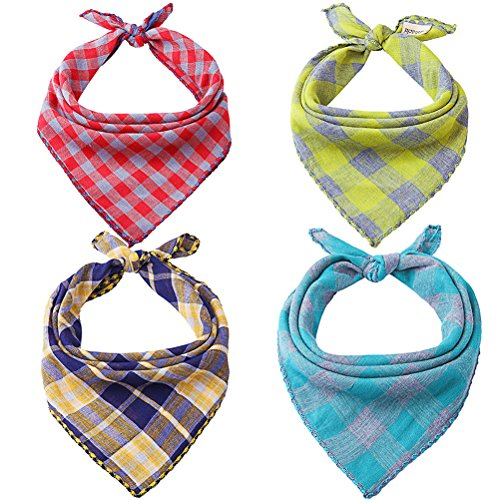 Mihachi Dog Bandanas - 4 Pack Bibs Scarfs, Plaid Washable Reversible Triangle Kerchief for ()