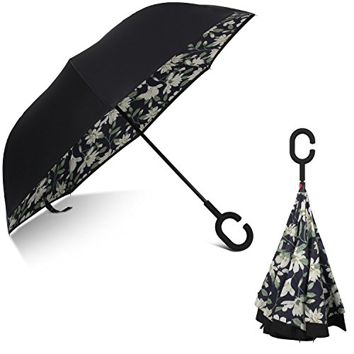 Rainlax Inverted Umbrella Double Layer Windproof Anti UV Protection Umbrellas for Car Rain Outdoor with C-Shaped Handle (Black,Lily)