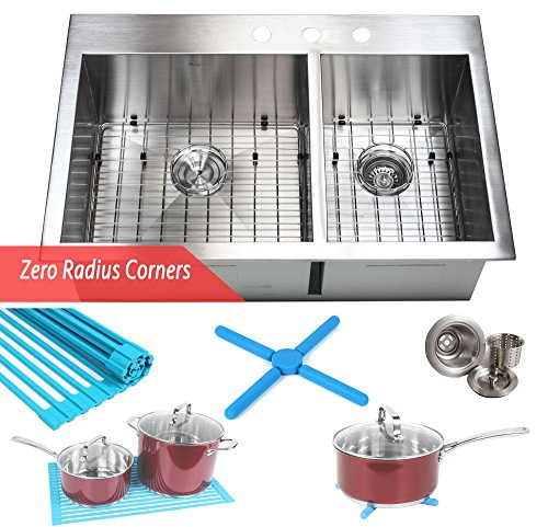33 Inch Zero Radius Design 16 Gauge Topmount Drop In Over the Counter Large Double Bowl 6040 Stainless Steel Kitchen Sink Premium Package (Package Stainless Sink)