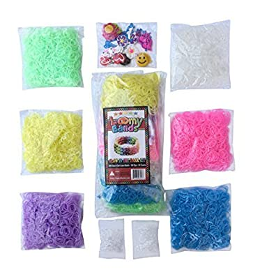 3000 Glow in the Dark Rainbow Colored Loom Bands Refill Kit - 6 Vibrant Neon Colors That Glow! - Includes FREE 100 Clips and 30 Charms! - Refill your Loom Band Organizer in Glowing Fashion! from Loomy Bands©