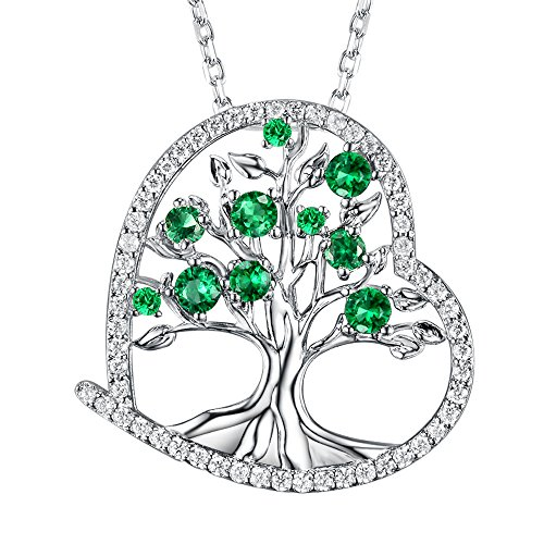 The Tree of Love Necklace Gifts for Women Created Green Emerald Jewelry Birthday Anniversary Gift for Her Wife Girlfriend Fiancee Grandma Sterling Silver 18