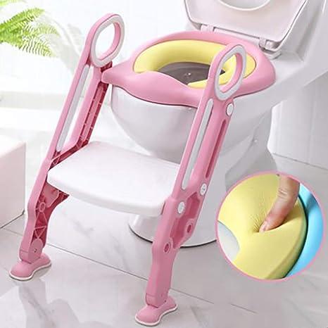 Escalera de baño para ir al baño, inodoro con escalera para niños, escalera plegable para inodoro para bebés, asiento de entrenamiento para bebé grueso, antideslizante, con manija,Pink: Amazon.es: Bebé