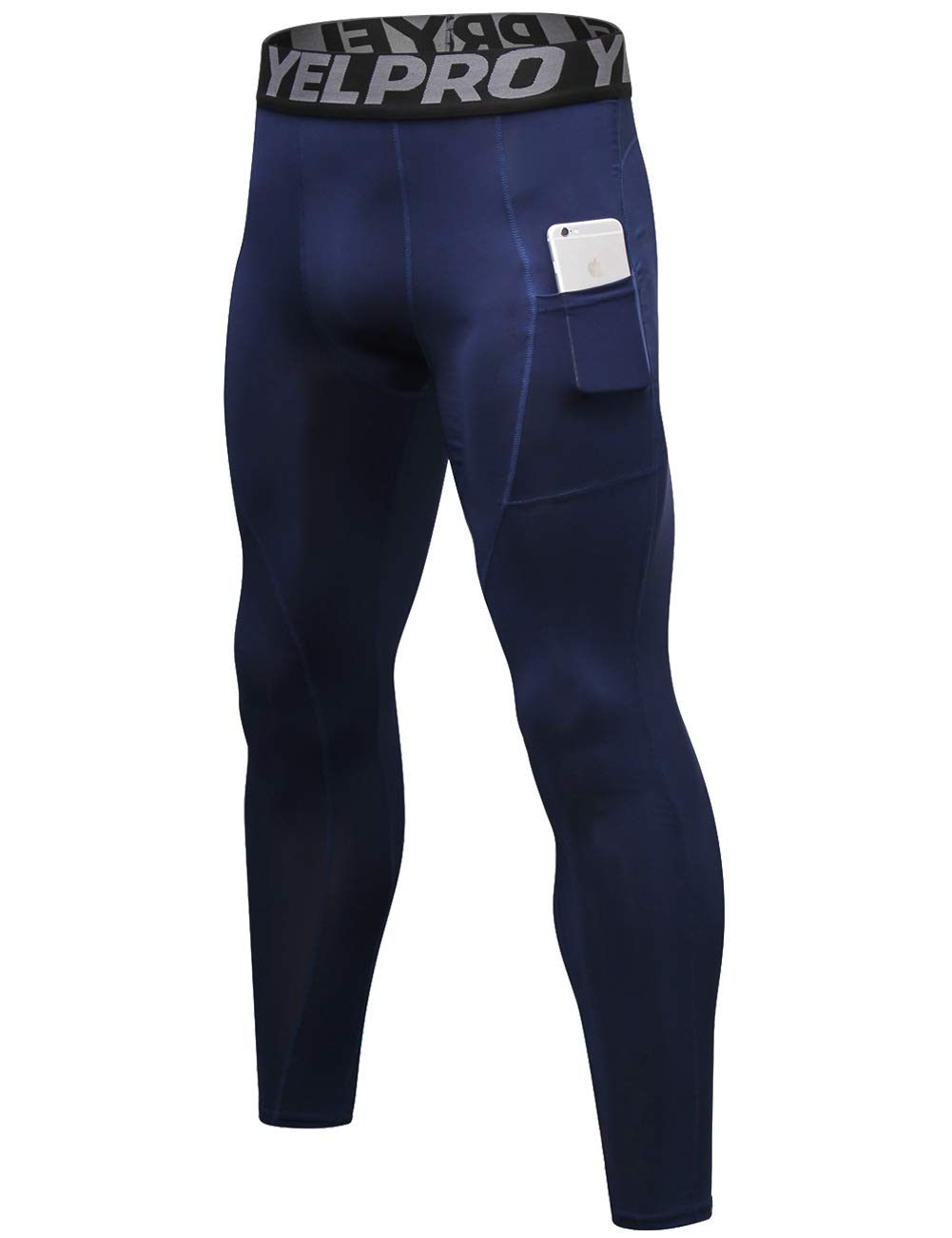 Lavento Men's Compression Pants Baselayer Cool Dry Pocket Running Ankle Leggings Active Tights (1 Pack-3911 Navy Blue,X-Large) by Lavento