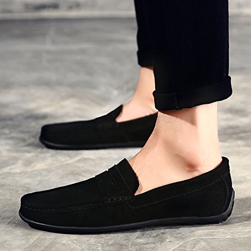VILOCY Men's Casual Suede Slip On Driving Moccasins Penny Loafers Flat Boat Shoes Black,45 by VILOCY (Image #6)